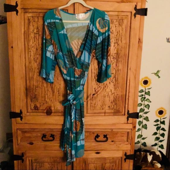 New Nikki Poulos Wrap Surplice Dress Nwt